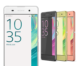 Sony Xperia XA farvevarianter: white, lime gold, graphite black og rose gold